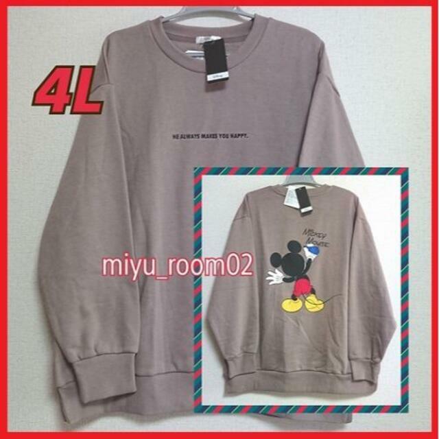 ミッキーマウス(ミッキーマウス)の【新品☆】ミッキー トレーナー(裏起毛)☆4L レディースのトップス(トレーナー/スウェット)の商品写真