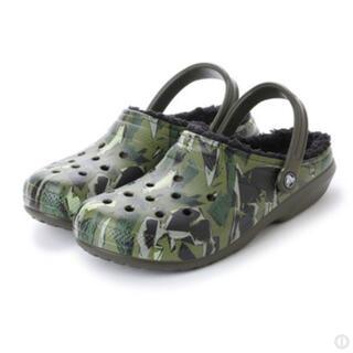 クロックス(crocs)の希少 クロックス 25cm グリーン ブラック ウィンター クロッグ ボア付(サンダル)