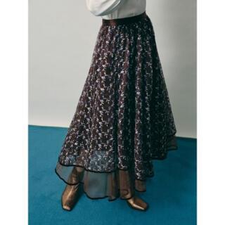 リリーブラウン(Lily Brown)の【新品】リリーブラウン チュール刺繍スカート ブラウン(ロングスカート)