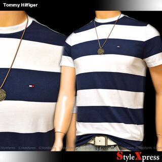 新品 トミーヒルフィガー 白 紺 S M L XL ボーダー Tシャツ