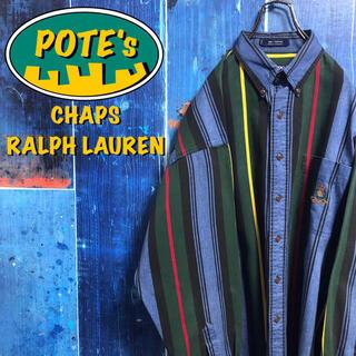 Ralph Lauren - 【チャップスラルフローレン】ポケット刺繍ロゴマルチストライプシャツ 90s