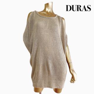 デュラス(DURAS)のDURAS オープンショルダー 半袖 ニット ワンピース*リップサービス(ミニワンピース)