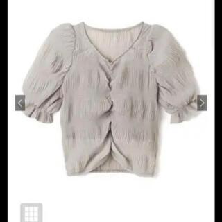 グレイル(GRL)のシアーフロントギャザートップス グレージュ(シャツ/ブラウス(半袖/袖なし))