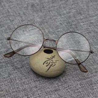 ゾフ(Zoff)のヴィンテージ風 大きめラウンド 伊達眼鏡 レディース ブロンズ(サングラス/メガネ)