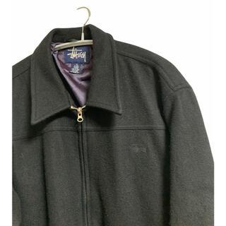 STUSSY - stussy 90s  刺繍 ストリート ウールジャケット ブラック M