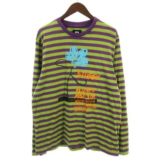 ステューシー(STUSSY)のステューシー カットソー 長袖 ロンT フラワー ボーダー 丸首 紫 緑 L(Tシャツ/カットソー(七分/長袖))
