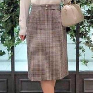 ミッシュマッシュ(MISCH MASCH)のミッシュマッシュ  パールボタン 千鳥風チェックスカート赤系(ひざ丈スカート)