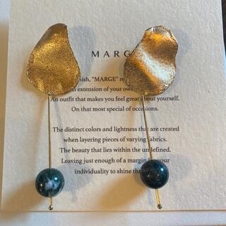 【新品】marge Stone drop earring/ Moss agate