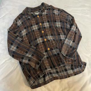 80s vintage wool shirt jacket check