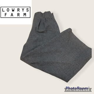 ローリーズファーム(LOWRYS FARM)の美品 ローリーズファーム ツイードワイドパンツ グレー M(カジュアルパンツ)