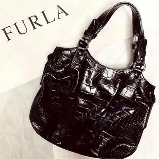 フルラ(Furla)のFURLA フルラ トートバッグ クロコ型押し ブラック 黒(トートバッグ)