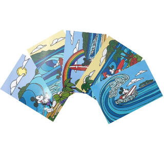 未使用 5枚入 サーフミッキー ヘザーブラウン ポストカード ディズニー ミニー