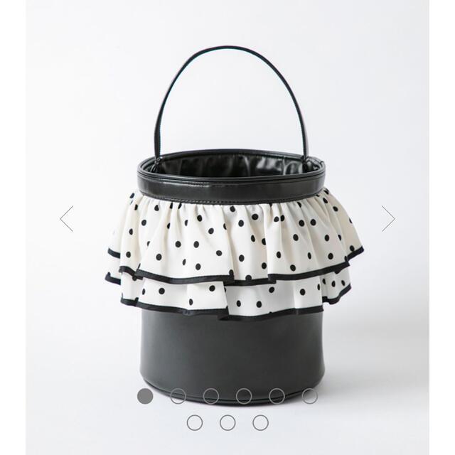 セツコサジテール ピクニック 白フリル黒ドット バッグ レディースのバッグ(ハンドバッグ)の商品写真
