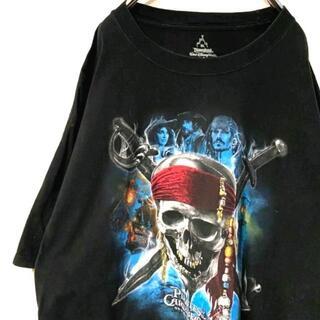 ヘインズ(Hanes)のヘインズ パイレーツオブカリビアン Tシャツ ブラック 黒色 XL 古着(Tシャツ/カットソー(半袖/袖なし))