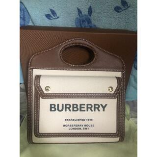 BURBERRY - バーバリー ミニツートン キャンバス&レザーポケットバッグ