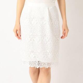ミッシュマッシュ(MISCH MASCH)の美品☆ミッシュマッシュ☆花柄レースタイトスカート☆白フラワーレース(ひざ丈スカート)