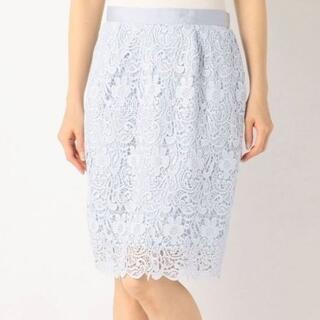 ミッシュマッシュ(MISCH MASCH)の美品☆ミッシュマッシュ☆花柄レースタイトスカート☆水色フラワーレース(ひざ丈スカート)