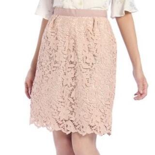ミッシュマッシュ(MISCH MASCH)のミッシュマッシュ☆花柄レースタイトスカート☆ピンクベージュ フラワーレース(ひざ丈スカート)