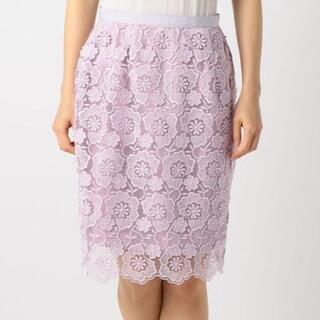 ミッシュマッシュ(MISCH MASCH)のミッシュマッシュ★3Dレースタイトスカート★花柄 ピンク ラベンダー パープル(ひざ丈スカート)