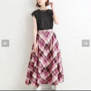 イエナ(IENA)のイエナ IENA 今季完売 チェックギャザースカート パープル 新品未使用品(ロングスカート)