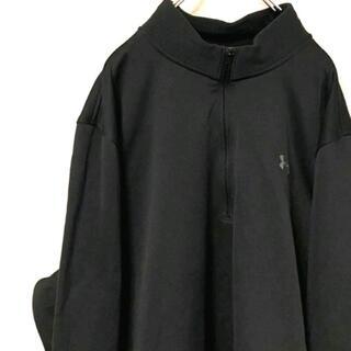 アンダーアーマー(UNDER ARMOUR)のアンダーアーマー ロゴ ハーフジップスウェット ブラック 黒色 XL 古着(スウェット)