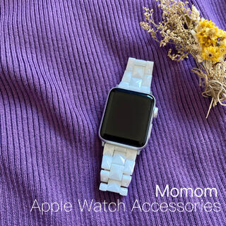 ○Apple Watch モザイク柄ベルト ホワイト 38mm/40mm