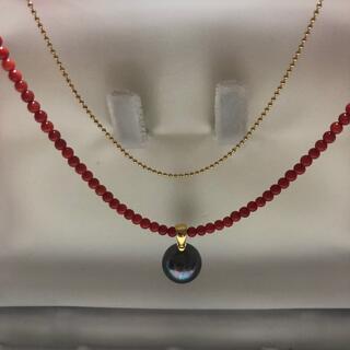 【匿名配送】お洒落❣️赤珊瑚 小粒 チェーン ゴールド  ブラック 真珠 男女