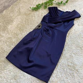 グレースコンチネンタル(GRACE CONTINENTAL)の美品 グレースコンチネンタル ドレス ワンピース 36 紺(ひざ丈ワンピース)