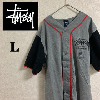 STUSSY - stussy ベースボールシャツ グレー L