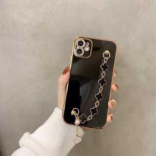 iPhoneケース クローバー チェーン付 ブラック iPhone SE2ケース