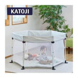 KATOJI - KATOJI ポータブル折りたたみベビーサークル コロコロランド6 グレー