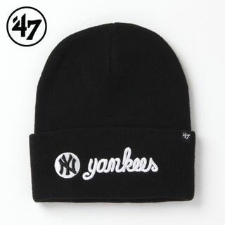 ニューエラー(NEW ERA)の【新品】47BRAND NY ヤンキース ニット帽 黒 ニューヨーク(ニット帽/ビーニー)