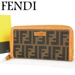 フェンディ(FENDI)のフェンディ ズッカ ナイロン キャンバス×レザー ラウンドファスナー 長財布 箱(財布)