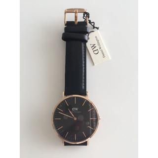 ダニエルウェリントン(Daniel Wellington)のダニエルウェリントン新品ピンクゴールド×ブラック40MMレザー(腕時計(アナログ))