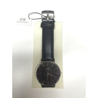 ダニエルウェリントン(Daniel Wellington)のダニエルウェリントン新品シルバー×ブラック40MMレザー(腕時計(アナログ))