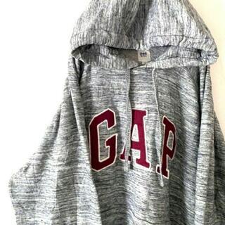 ギャップ(GAP)のギャップ GAP ロゴ 刺繍 スウェットパーカー グレー 灰色 XL 古着(パーカー)