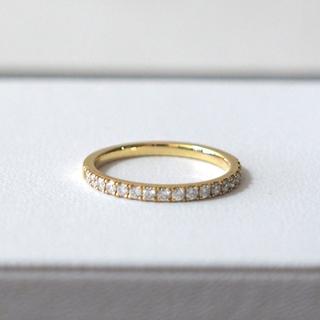 agete - 【美品】ベルシオラ ハーフエタニティリング 9号 K18YGダイヤモンド