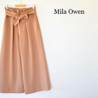 ミラオーウェン(Mila Owen)のミラ オーウェン ウエストリボン ワイドパンツ ガウチョパンツ 茶 サイズ1(カジュアルパンツ)