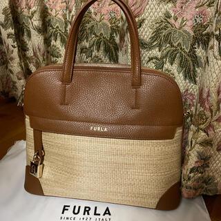 フルラ(Furla)のフルラ ラフィア トートバッグ 夏素材 取り外し可能なストラップ付 未使用(ハンドバッグ)