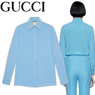 グッチ(Gucci)のGUCCI クレープドシンシルクシャツ(シャツ/ブラウス(長袖/七分))