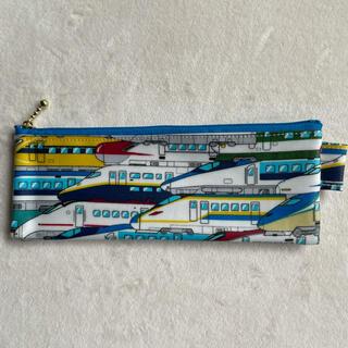 新幹線柄②ラミネート生地のハブラシケースやペンケースになる薄型ポーチ(外出用品)