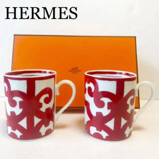 エルメス(Hermes)のガダルキヴィールHERMESマグカップ2個ペア食器コップ赤レッド(グラス/カップ)
