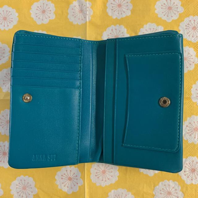 ANNA SUI(アナスイ)のアナスイ 二つ折り財布 がま口財布 外口金二つ折り財布 キッシング ターコイズ レディースのファッション小物(財布)の商品写真