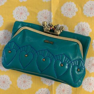 ANNA SUI - アナスイ 二つ折り財布 がま口財布 外口金二つ折り財布 キッシング ターコイズ