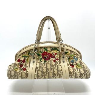 ディオール(Dior)のディオール トロッター フラワー 刺繍 ハンドバッグ ベージュ(ハンドバッグ)
