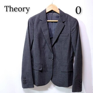 セオリー(theory)の【美品♪】Theory セオリー ストライプ ジャケット スーツ ブラック 薄手(テーラードジャケット)