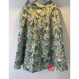 イエナ(IENA)のIENA イエナ かすれフラワーギャザースカート 40 サックスブルー(ロングスカート)