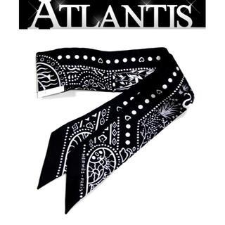 エルメス(Hermes)の【広尾店】新品 エルメス ツイリー スカーフ 【空と海の間】黒 10479(バンダナ/スカーフ)
