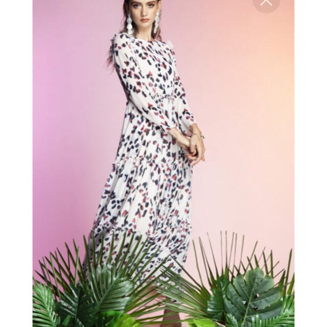 DOUBLE STANDARD CLOTHING(ダブルスタンダードクロージング)のエステルジョーゼットワンピースレオパード レディースのワンピース(ロングワンピース/マキシワンピース)の商品写真