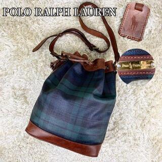 ポロラルフローレン(POLO RALPH LAUREN)の美品 ポロラルフローレン ショルダーバッグ  巾着 チェック pvc レザー(ショルダーバッグ)